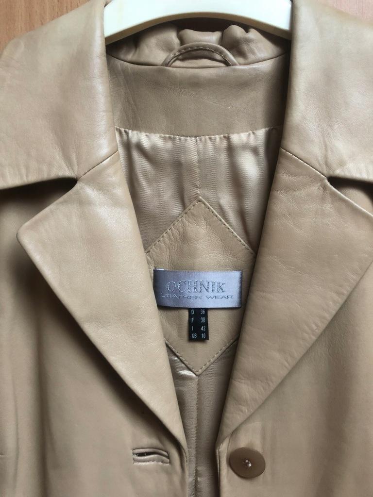 Długi klasyczny płaszcz skurzany OCHNIK rozm.36-38