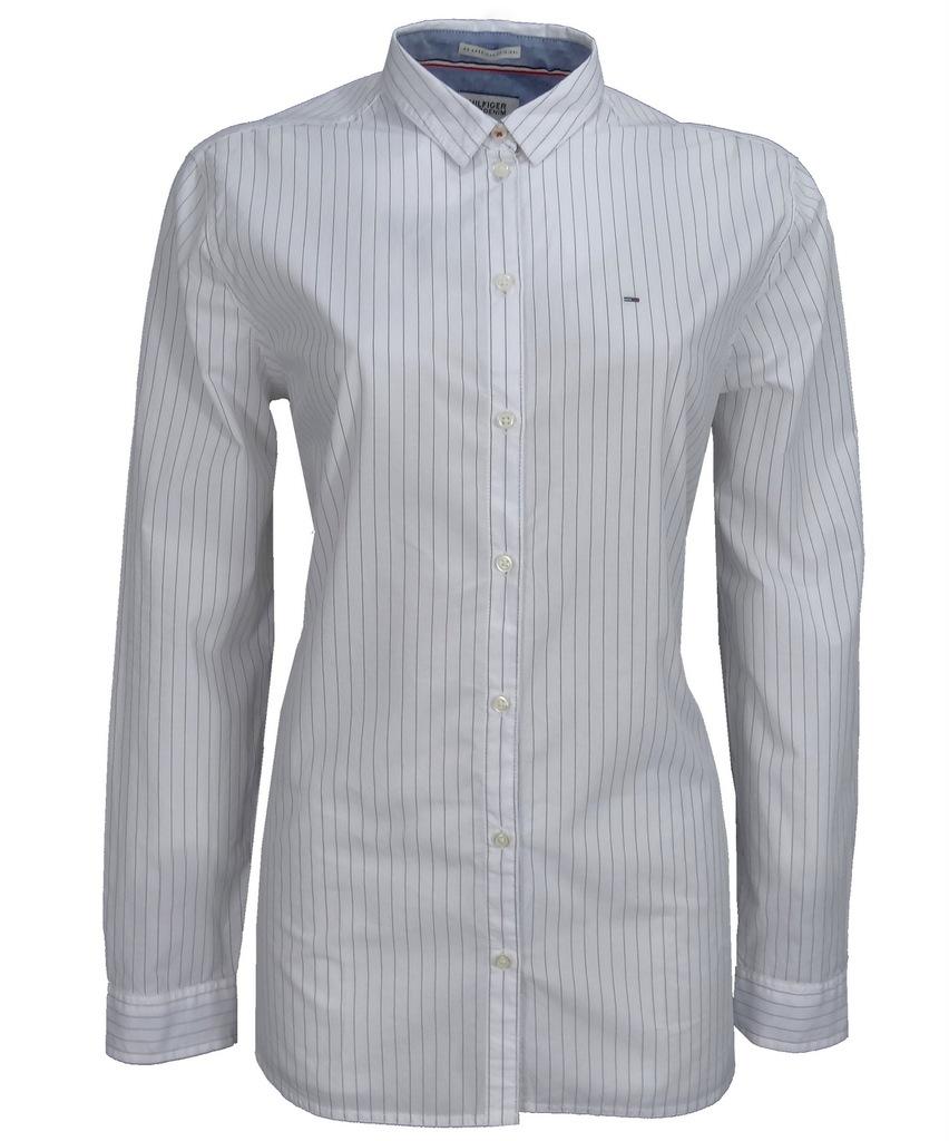 TOMMY HILFIGER DENIM koszula damska,biała,prążki L