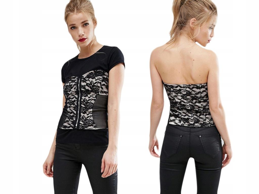 Design-New Look - Czarny Koronkowy Gorset S/36