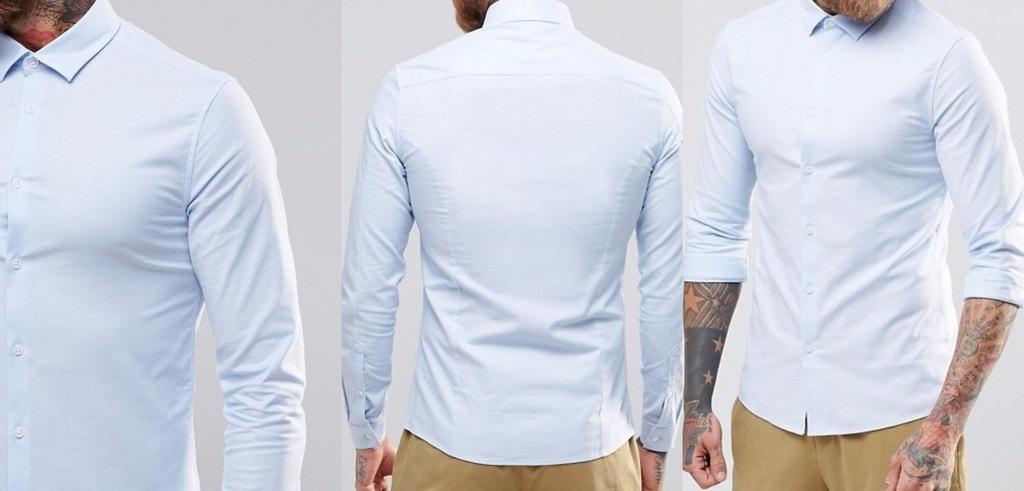 koszula męska niebieska slim fit Oxford XL