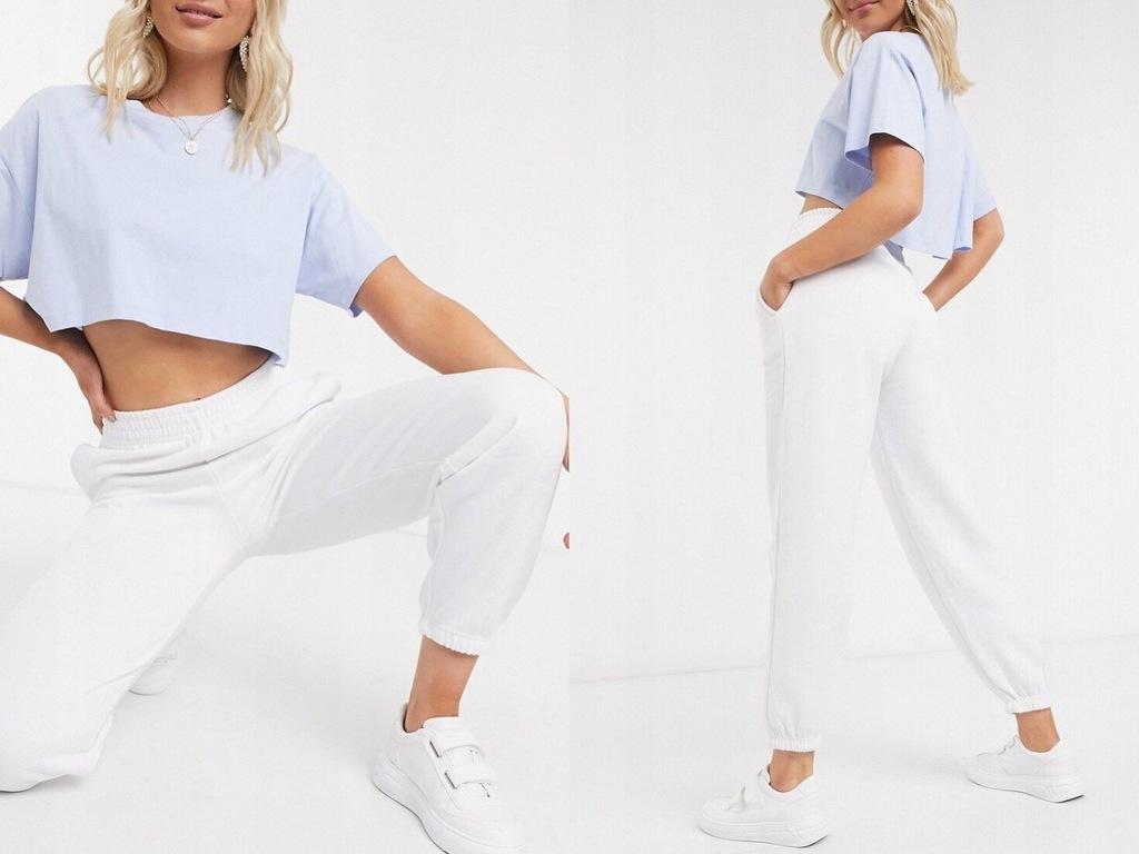 New Look białe joggersy ściągacze 36/S