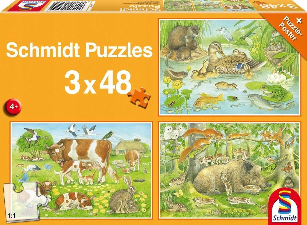 Puzzle 3x48 Zwierzęca rodzinka G3 Schmidt