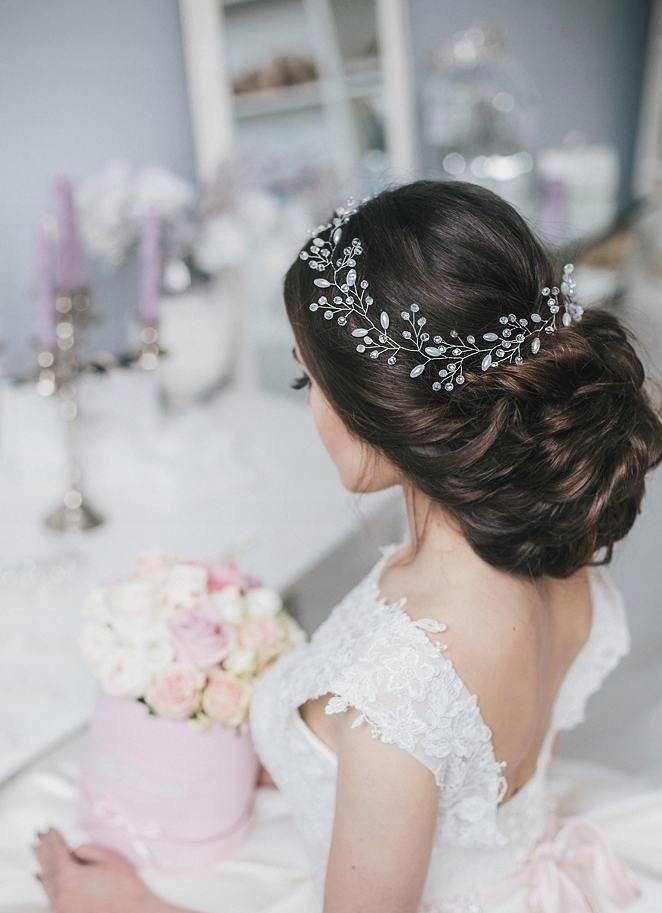 Gałązka ślubna stroik ozdoba włosy