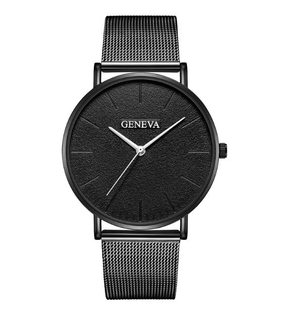 Zegarek Damski Męski klasyczny czarny Geneva