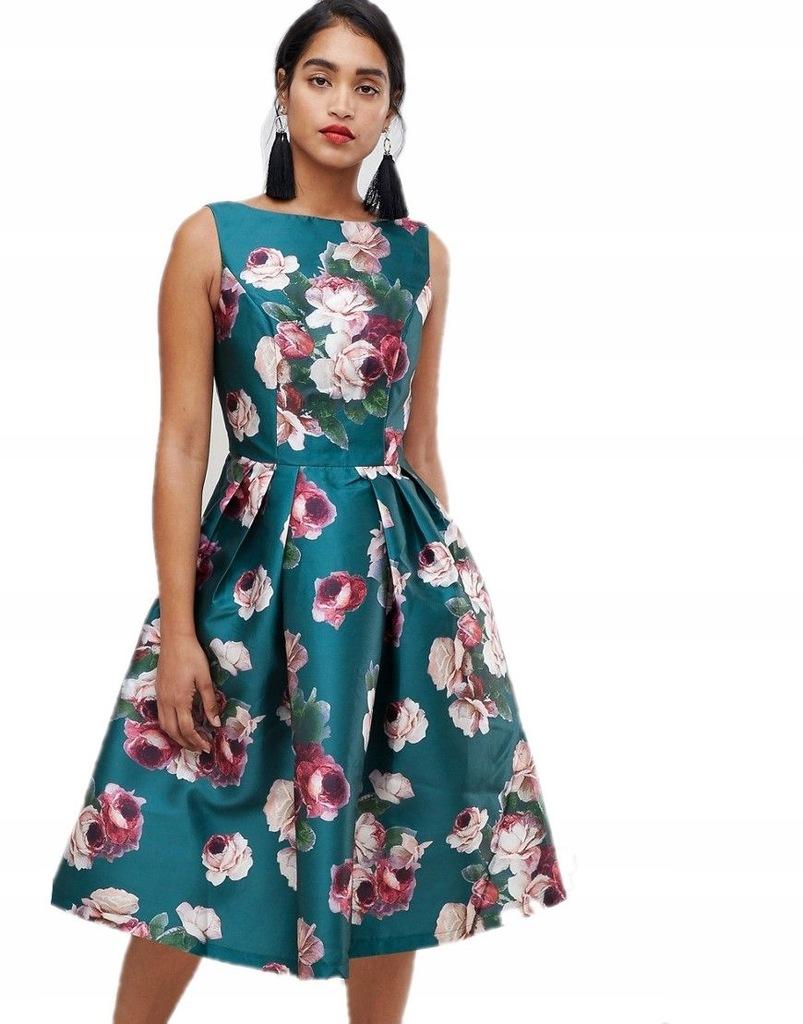 CHI CHI LONDON sukienka MIDI kwiaty L 40