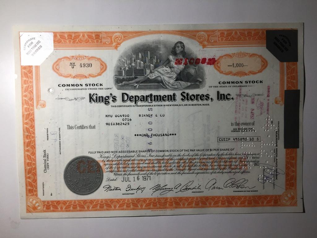 KINGS DEPARTMENT STORES INC