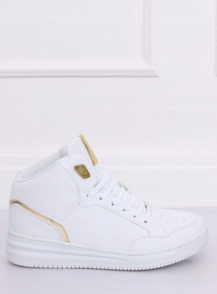 Buty sportowe za kostkę biało złote 107 18 39