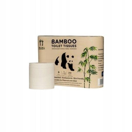 ZUZII Papier toaletowy bambusowy 6 rolek