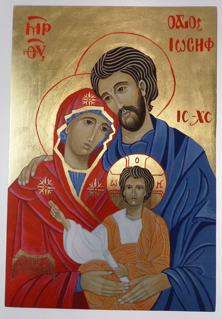 Święta Rodzina, ikona na desce