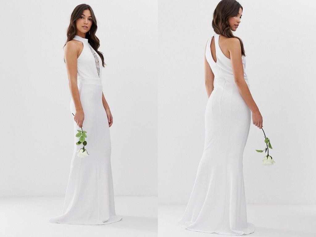 City Goddess Długa biała sukienka z ozdobą M/38