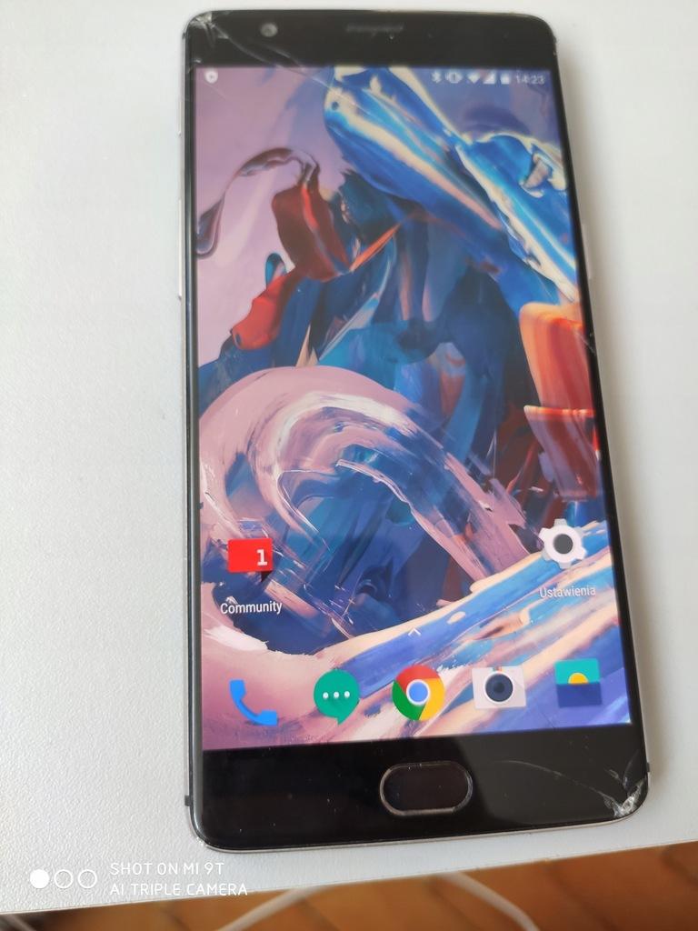OnePlus 3T 6/64 pęknięta szybka dotyk ok