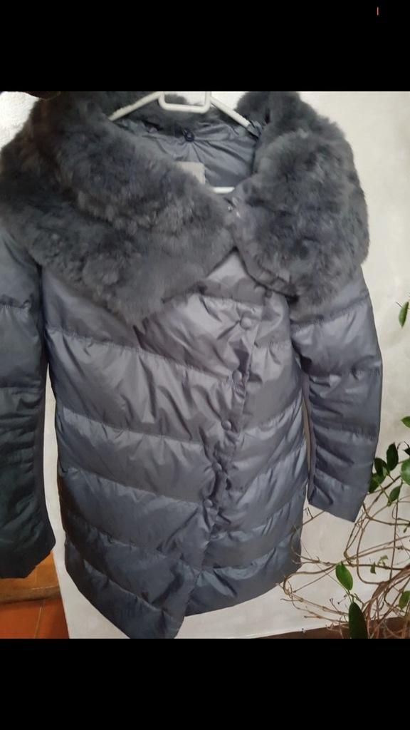 Pinko oryginalna kurtka płaszcz puch pierze futro