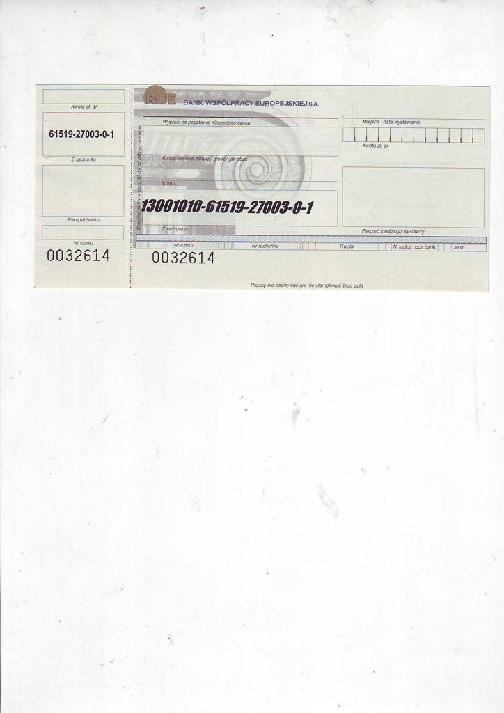 Bank Współpracy Europejskiej, czek nowoczesny