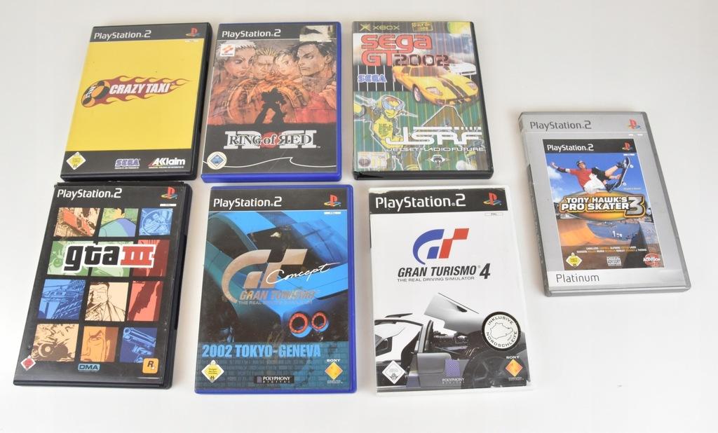 Pudełka po grach PS2 xbox GTA3 Gran Turismo 4 tony
