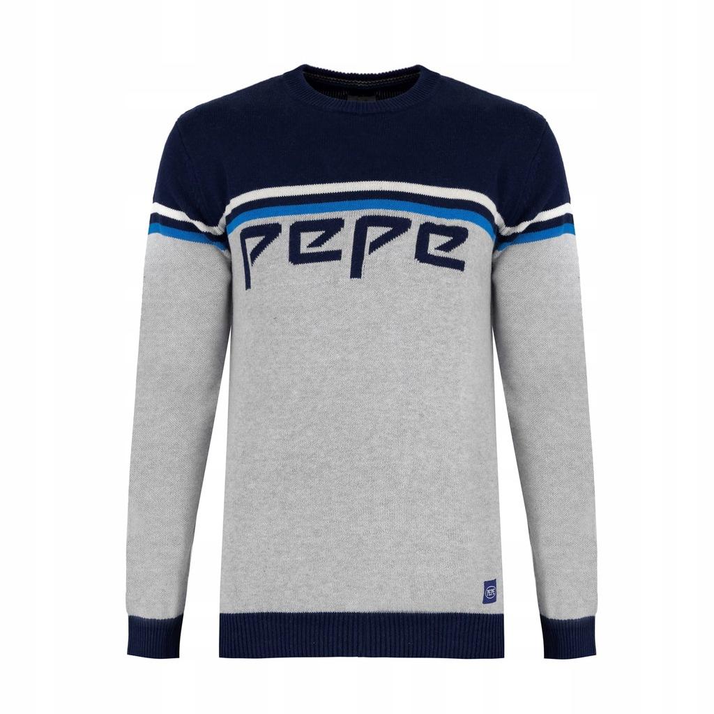 Sweter męski Pepe Jeans szary granatowy ciepły M