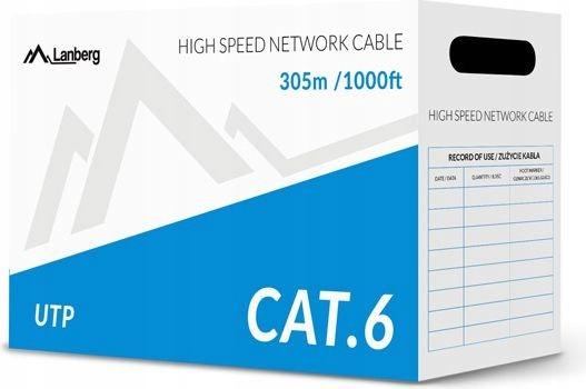 LANBERG Kabel UTP Kat.6 CCA 305 m drut szary