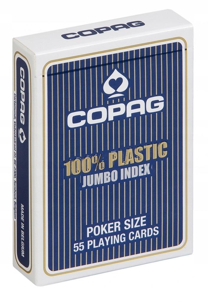 Karty Poker Plastik PKJ niebieskie Jumbo 4p