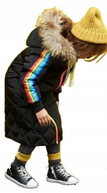 DŁUGI płaszcz puchowy HIT futro rainbow tęcza 122
