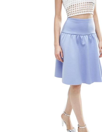 Rozkloszowana spódnica z koła, niebieska w kwiaty, rozmiar xs