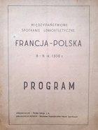 Program mecz lekkoatletyczny Francja - Polska 1956