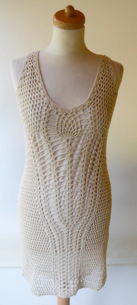 Sukienka Beżowa Ażurowa Zara Knit M 38 Beży