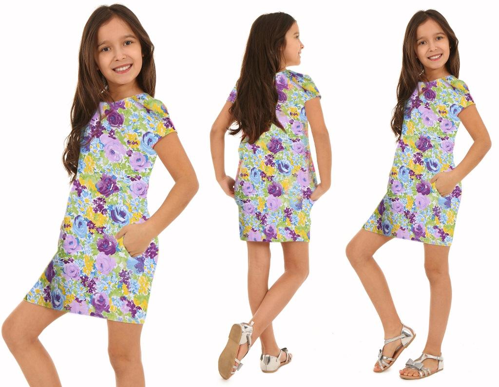 TUBA sukienka z kieszeniami, kwiaty - 122 FIOLET