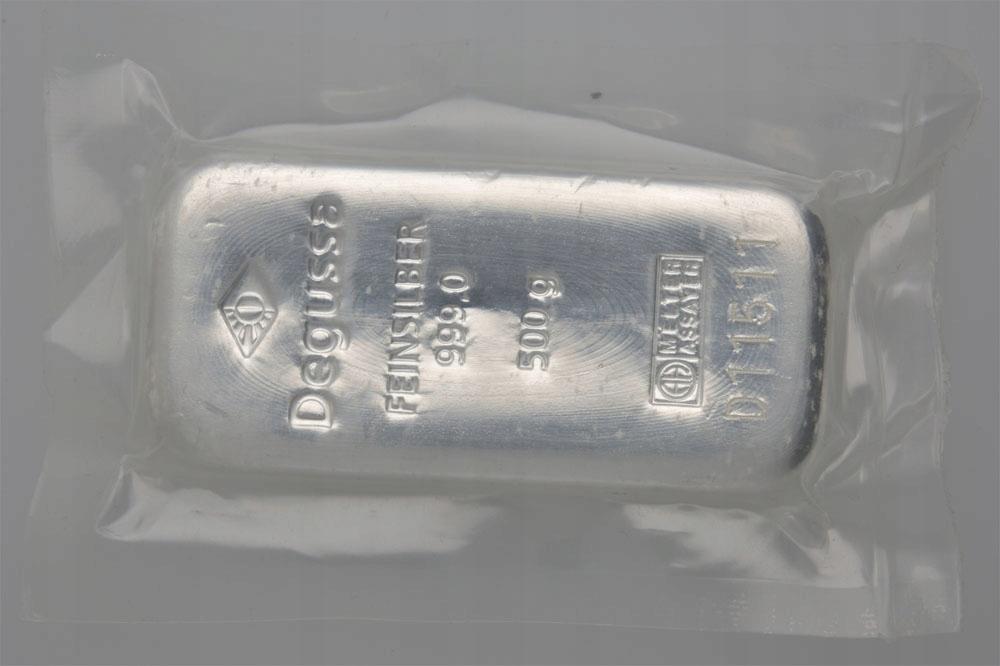 Sztabka DEGUSSA Ag999 Waga 500G (0,5Kg) 20
