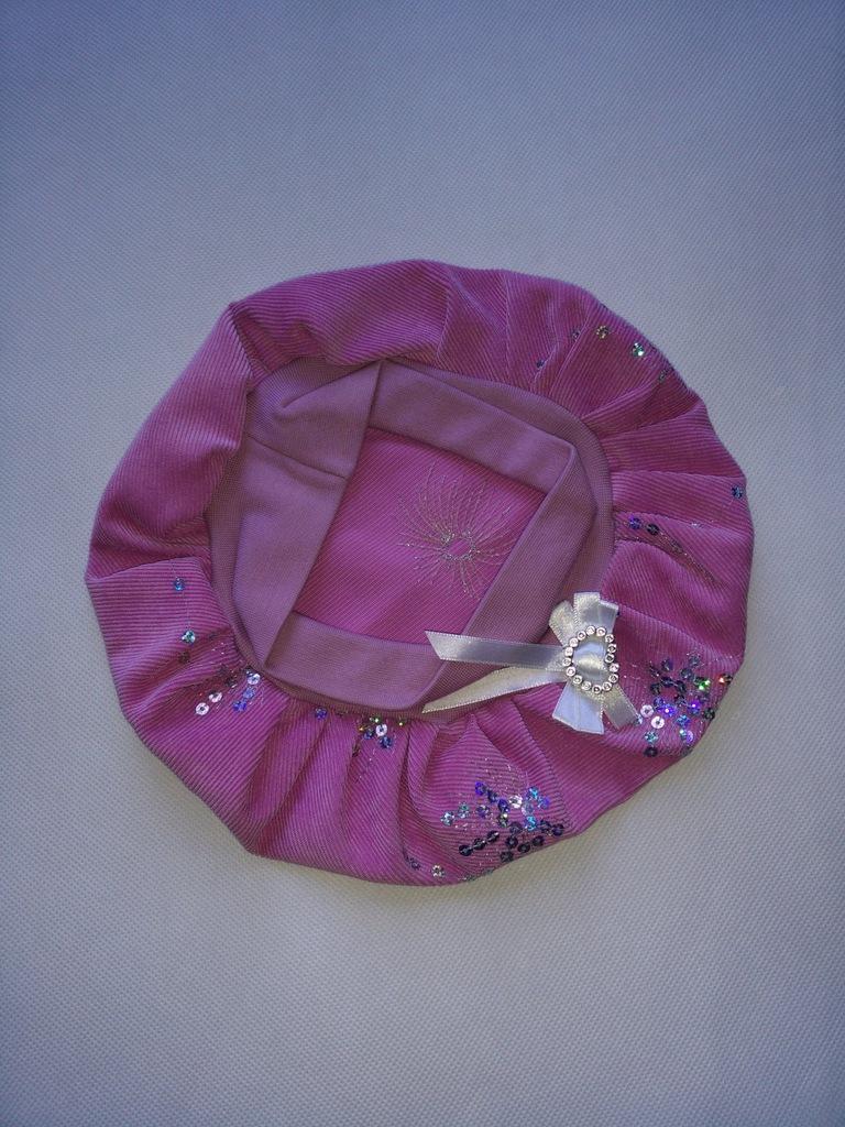 Czapka beret dziewczęcy sztruksowy różowy wiosna