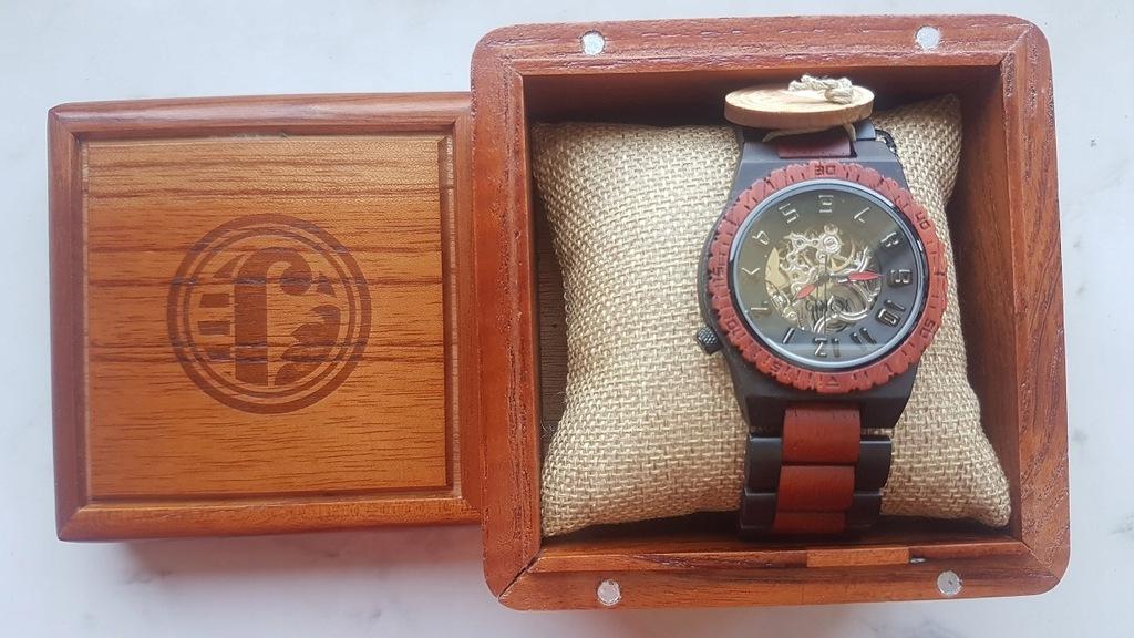 Zegarek naręczny USA automat bransol. egzot drewno