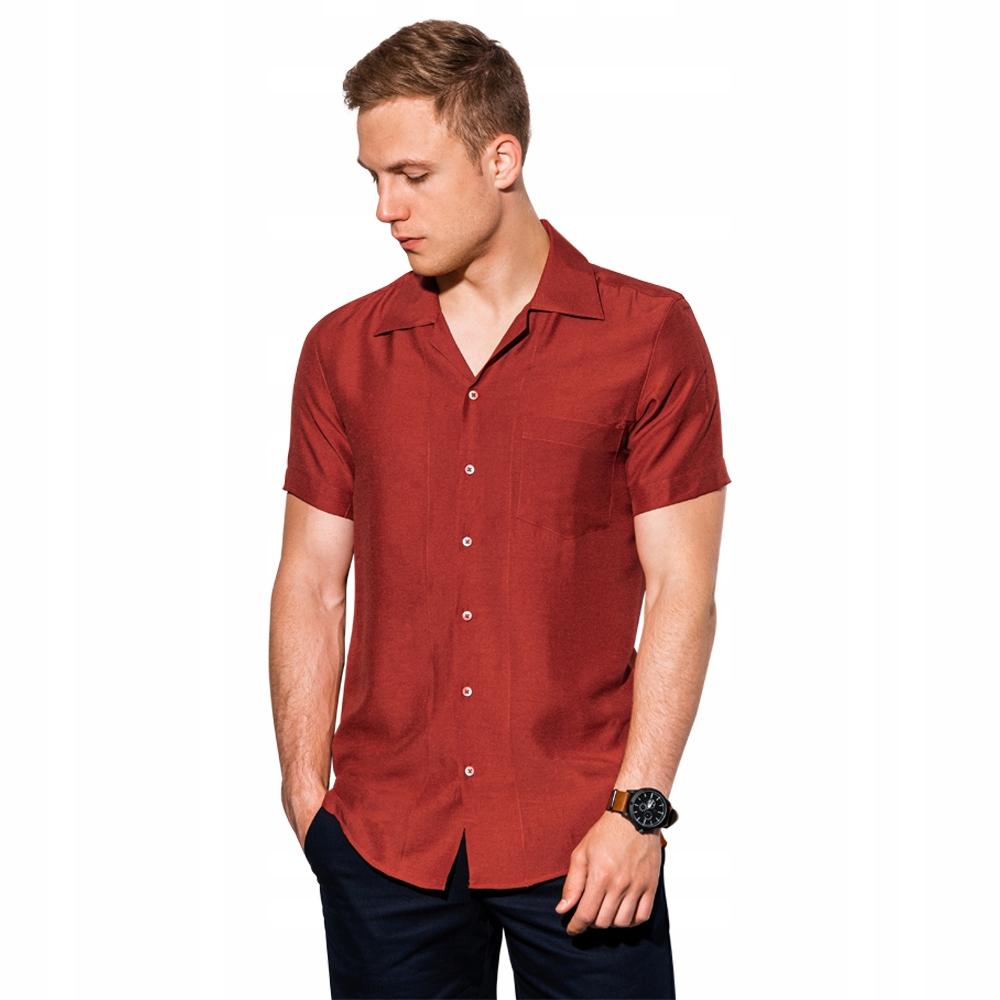 Koszula męska z krótkim rękawem K561 ceglasta XXL