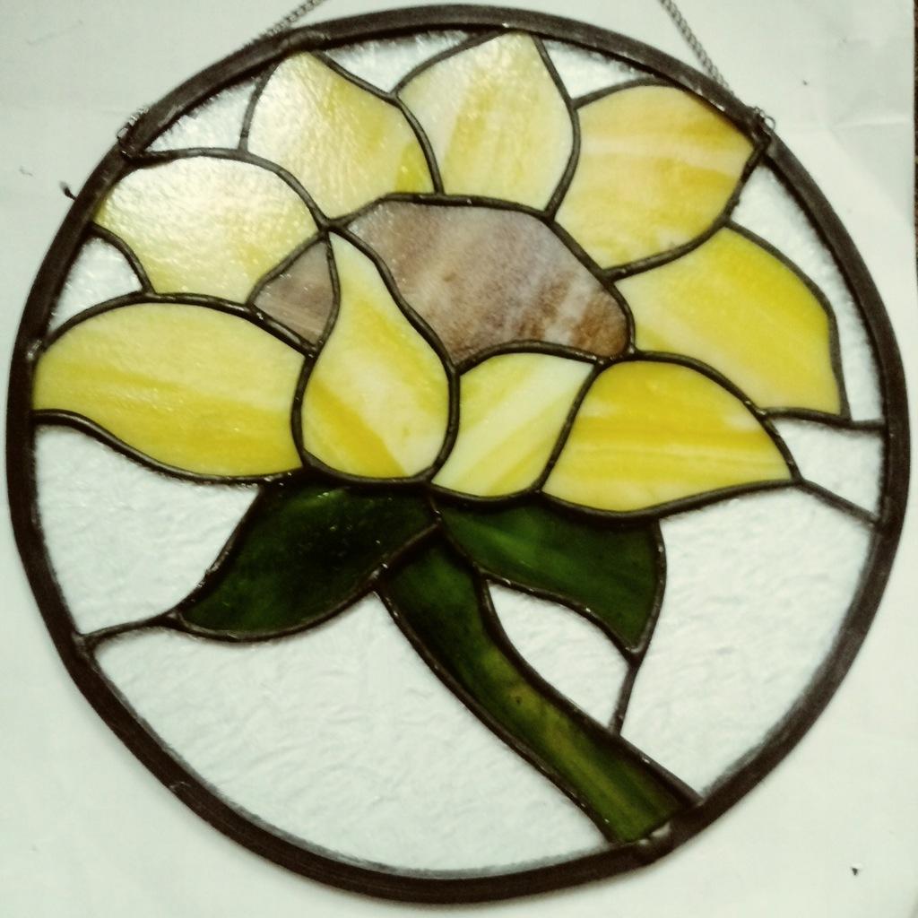 Szklana zawieszka witrażyk słonecznik ręcznie wyk