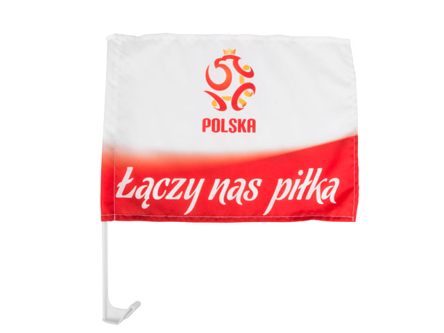 Flaga chorągiewka Polski kibica do samochodu