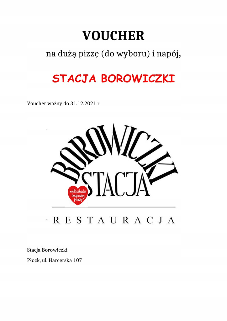 Voucher duża PIZZA+napój Stacja Borowiczki-Płock