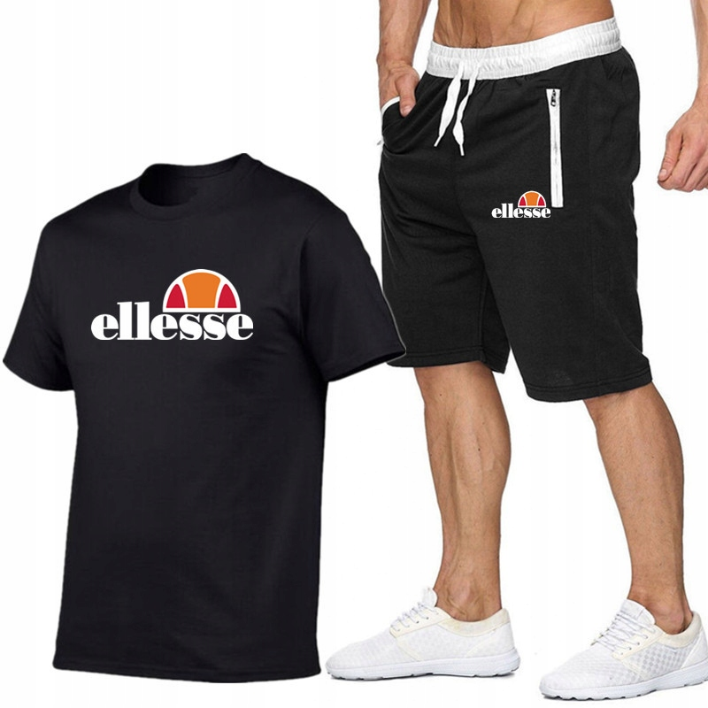 T-shirt CZARNY+ Spodenki Ellesse R L MPA WYGODNE