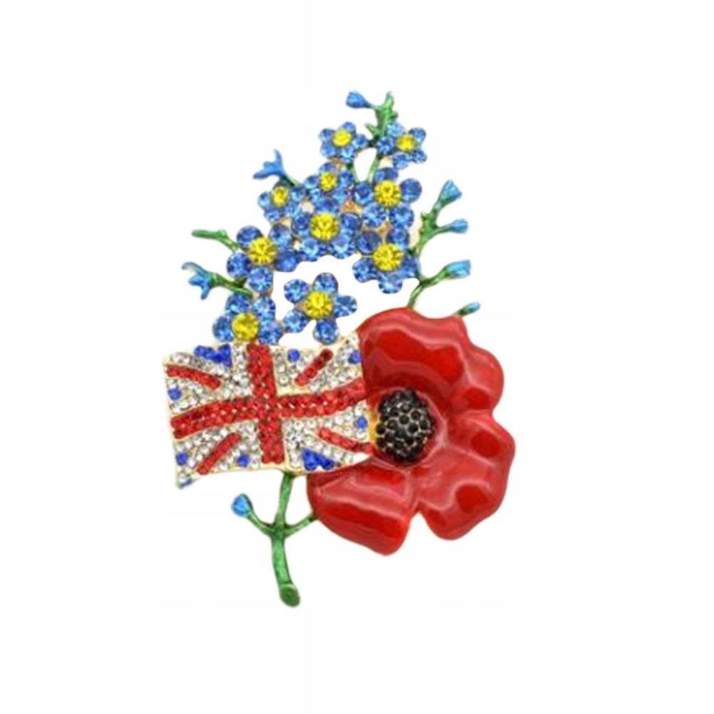 Fashion Rhinestone Red Flower Brooch Pin Creative
