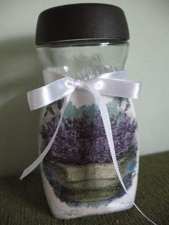 Vintage szklany pojemnik LAWENDA Shabby Chic