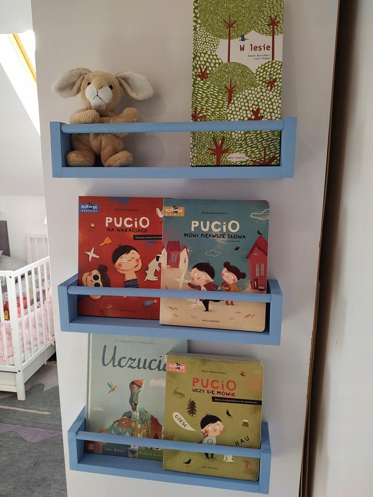 Półka na książki w stylu SKANDYNAWSKIM ( BŁĘKIT )