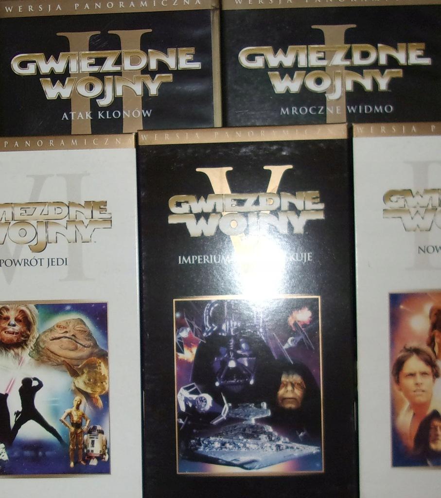 GWIEZDNE WOJNY 5 CZĘŚCI VHS WERSJA PANORAMICZNA