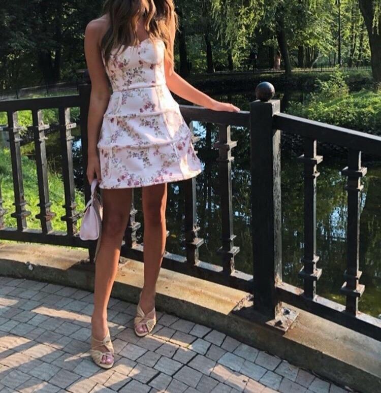 sukienka asos rozkloszowana w kwiaty koktajlowa S