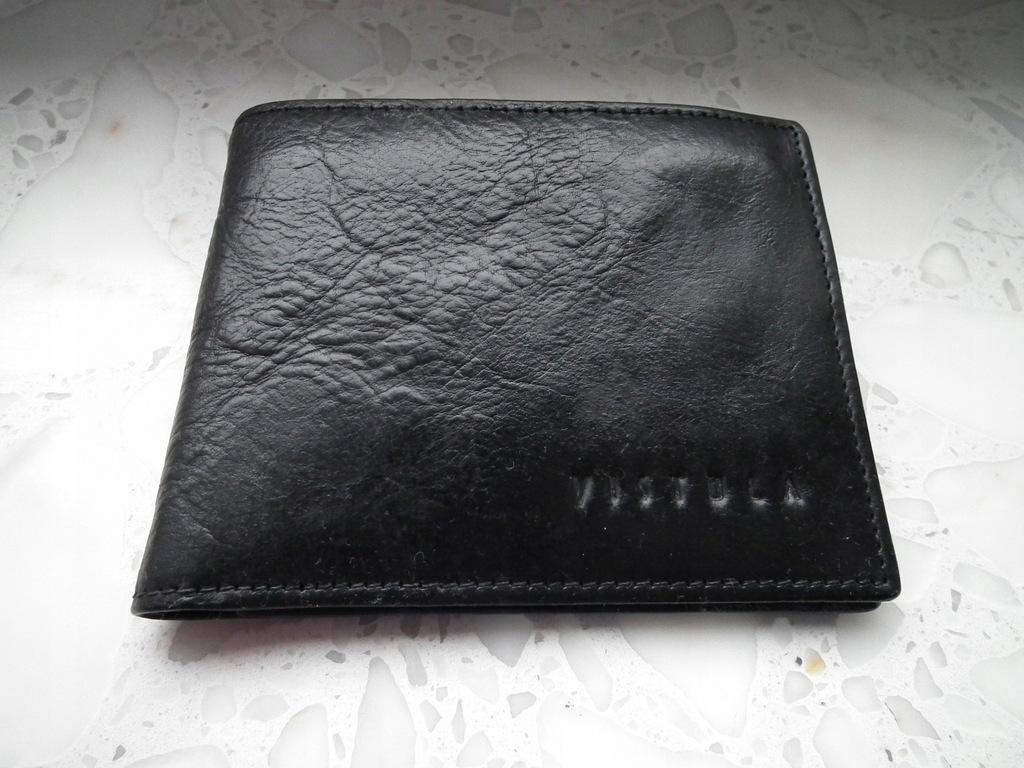 Portfel VISTULA czarny, mały, 100% skóra naturalna
