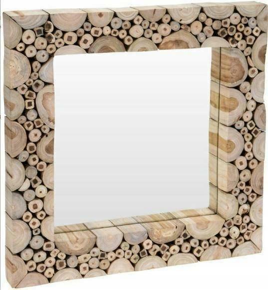 Lustro łazienkowe do sypialni drewniane 50x50cm
