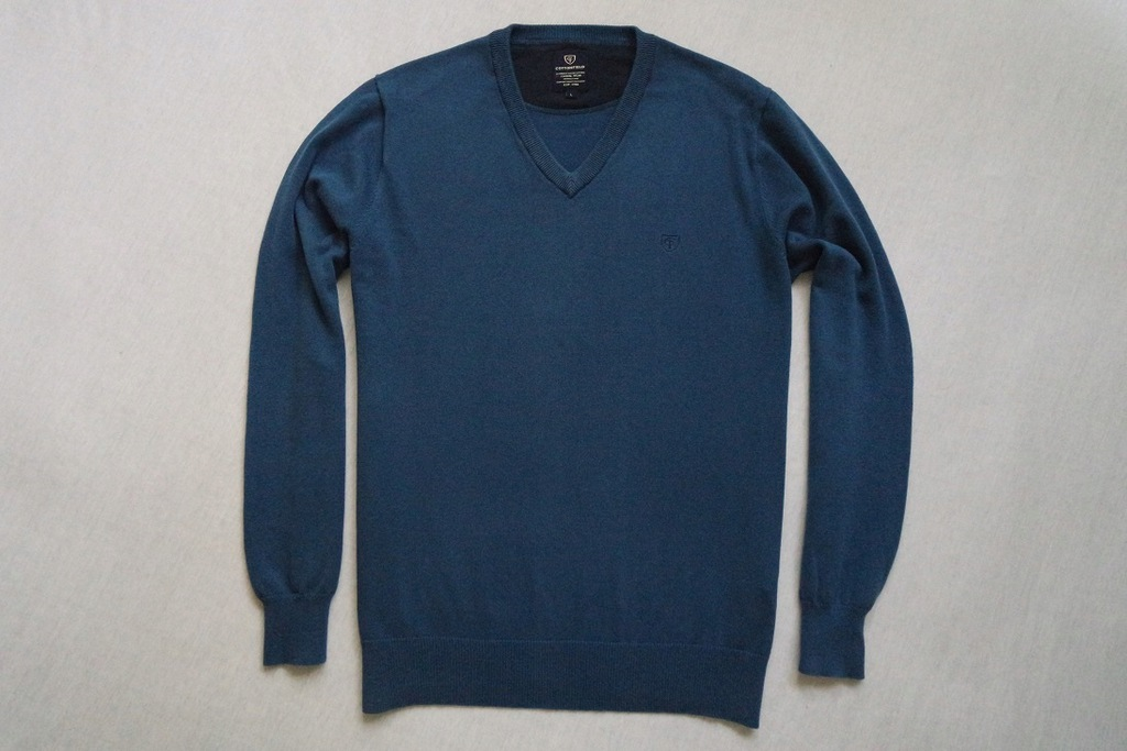 COTTONFIELD sweter sweterek niebieski logowany___L