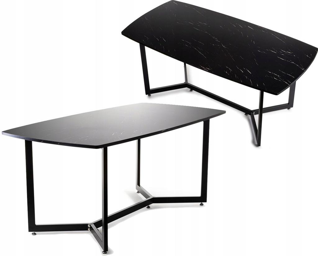 Czarny stół stolik kawowy konferencyjny MDF marmur