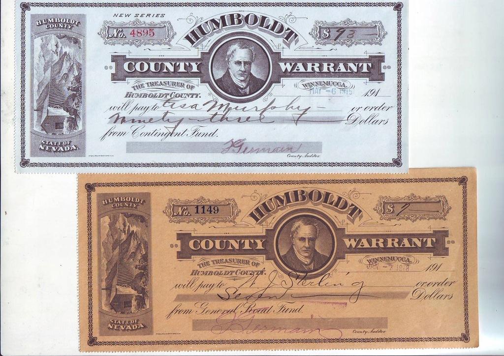 Warrant Humbold County, 2 sztuki