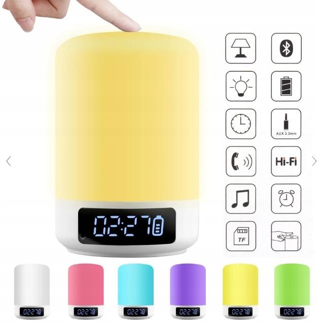 Lampka nocna Głośniki Bluetooth 6 Kolorów