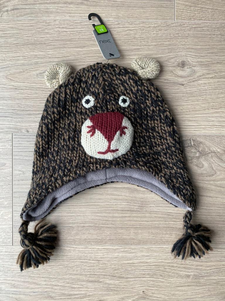 Next czapka z misiem na polarku 1-2-3 lat NOWA