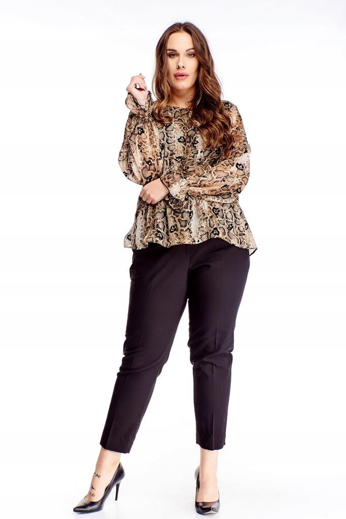 Tiulowa bluzka z bufiastymi rękawami - Beżowy 48