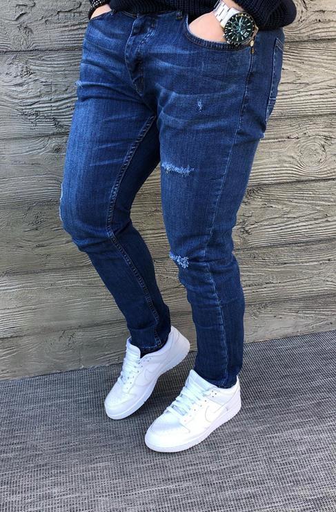 Spodnie jeansowe męskie z przetarciami ctrl102 36