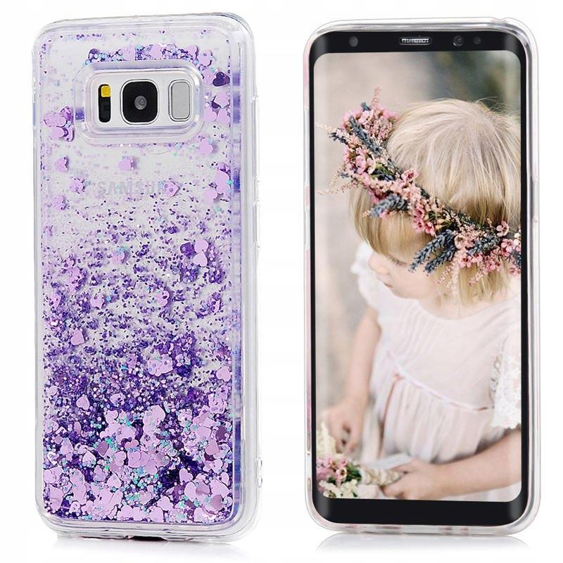 Etui do Samsung Galaxy A40 Płynny Brokat Serca