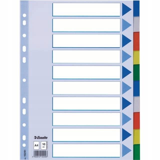 Przekładki A4 PP 10 kolorów, Esselte